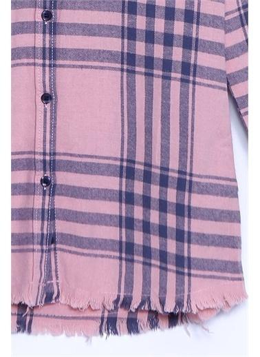 Silversun Kids Gömlek Dokuma Uzun Kollu Püsküllü Ekose Tunik Gömlek Kız Çocuk Gc 310252 Pembe